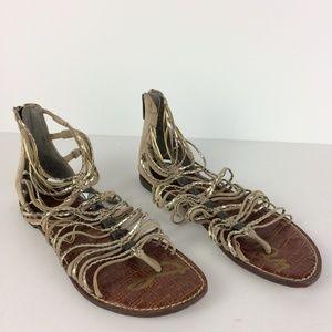 Sam Edelman Gladiator Back Zip Thong Sandals Sz 7
